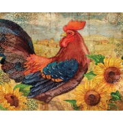 Magic Slice Roosters w/ Sunflowers by Paul Brent Non-Slip Flexible Cutting Board