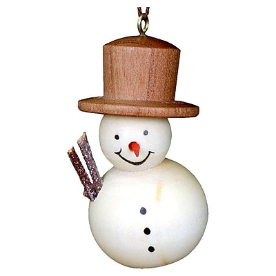 Christian Ulbricht Stained Wood Finish Snowman Ornament