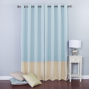 Colorblock Insulated Striped Blackout Thermal Grommet Curtain Panels (Set of 2)