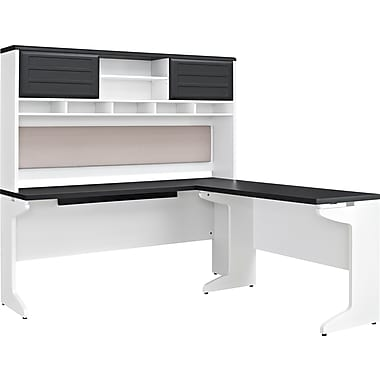 altra pursuit lshaped desk with hutch bundle whitegray