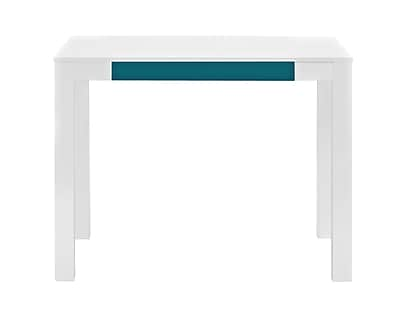 Parsons Desk with Drawer, White/Teal