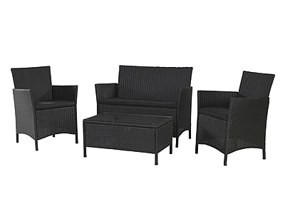 Cosco Jamaica 88510BLKE 4-Piece Resin Wicker Conversation Set, Black