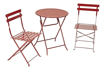 Cosco 87620RED1 3-Piece Steel Folding Bistro Set, Red