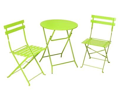 Cosco 87620GRN1 3-Piece Steel Folding Bistro Set, Bright Green