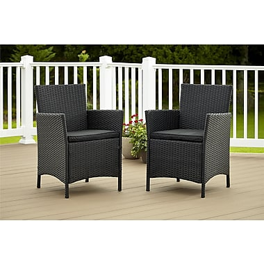 Cosco Jamaica 88511BLK2E Set of 2 Resin Wicker Dining Chair, Black
