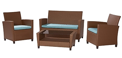 Cosco Malmo 88520LBBE 4-Piece Resin Wicker Conversation Set, Brown