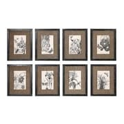 Creative Co-Op Wood and MDF Botanical w/ Burlap Picture Frame Set (Set of 8)