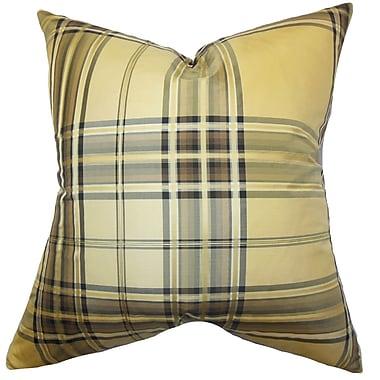 The Pillow Collection Fiorella Plaid Silk Throw Pillow; 20'' x 20''