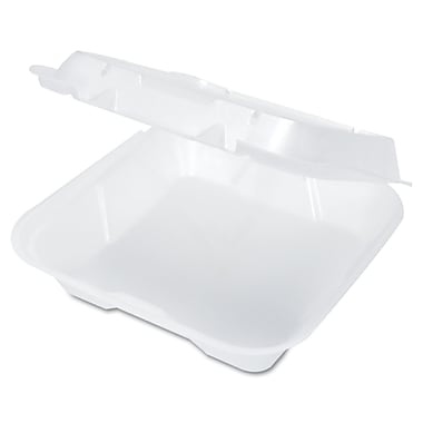 GENPAK Hinged Lid Foam Carryout Containers, White