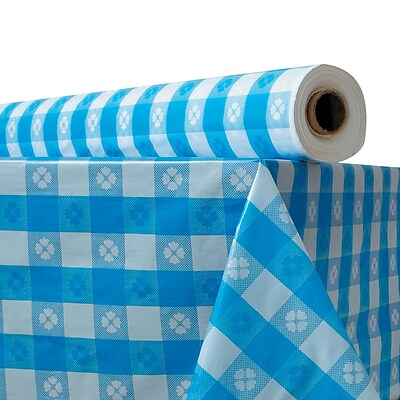 ATLANTIS PLASTICS Table Cover, Blue Gingham
