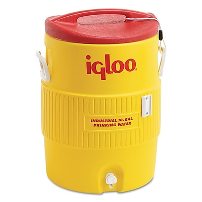 Igloo® 17 1/4 in (Dia) x 23 1/4 in (H) Yellow Plastic Beverage Cooler with Spigot, 10 gal