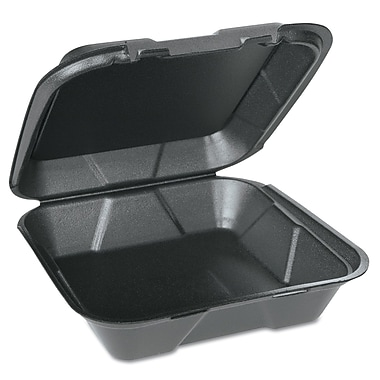GENPAK Hinged Lid Foam Carryout Containers, Black
