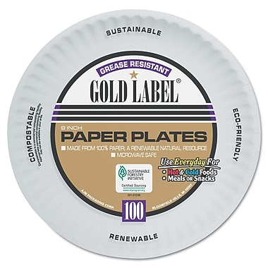AJM PACKAGING Gold Label White Coated Paper Plate 9