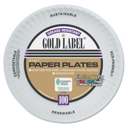 AJM PACKAGING Gold Label White Coated Paper Plate 9""