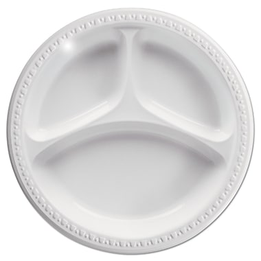 HUHTAMAKI FOODSERVICE White 3 Compartment Plastic Plate