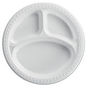 HUHTAMAKI FOODSERVICE 3 Compartments Heavyweight Plates, White