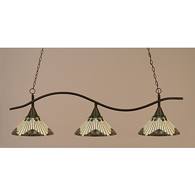 Toltec Lighting Swoop 3-Light Billiard Light; Dark Granite