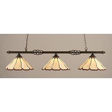 Toltec Lighting Elegante 3-Light Billiard Light; Honey and Burgundy