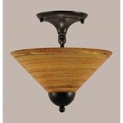 Toltec Lighting 2-Light Semi Flush Mount; Matte Black