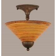 Toltec Lighting 2-Light Semi Flush Mount; Black Copper