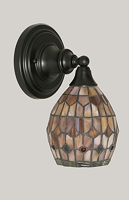 Toltec Lighting 1-Light Wall Sconce; Matte Black