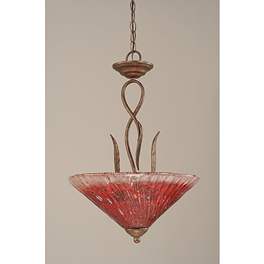 Toltec Lighting Leaf 3-Light Inverted Pendant; Raspberry