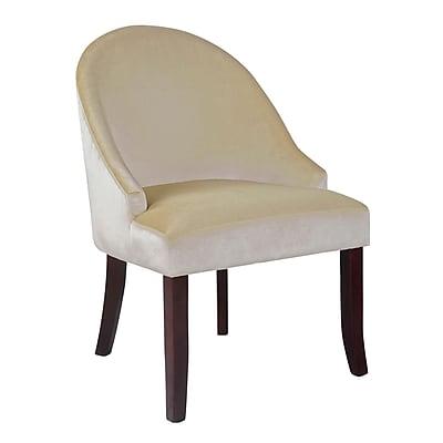 CorLiving™ Antonio Velvet Fabric Accent Chair, Soft Cream