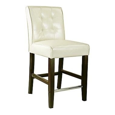 CorLiving DAD-414-B Antonio Counter Height Barstool, Bonded Leather, Cream White