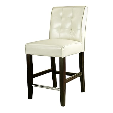 CorLiving™ Antonio Bonded Leather Counter Height Barstool, Cream White