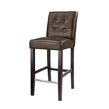 CorLiving DAD-483-B Antonio Bar Height Barstool, Bonded Leather, Dark Brown