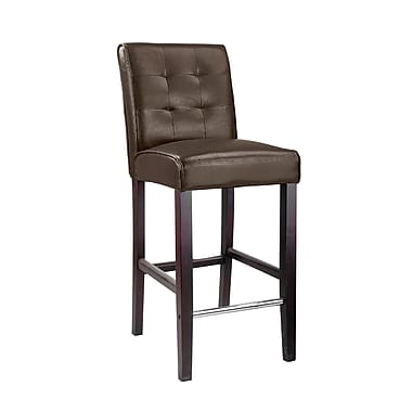 CorLiving™ Antonio Bonded Leather Bar Height Barstool, Dark Brown