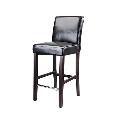 CorLiving DAD-503-B Antonio Bar Height Barstool, Bonded Leather, Black