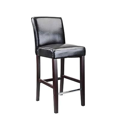 CorLiving™ Antonio Bonded Leather Bar Height Barstool, Black