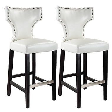 CorLiving DAD-819-B – Tabouret de bar Kings blanc avec clous en métal, lot de 2