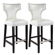 CorLiving™ Kings Bonded Leather Bar Height Barstool With Metal Studs, White