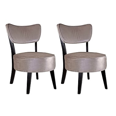CorLiving LAD-280-C Antonio Accent Chair, Grey Velvet, 2/Pack
