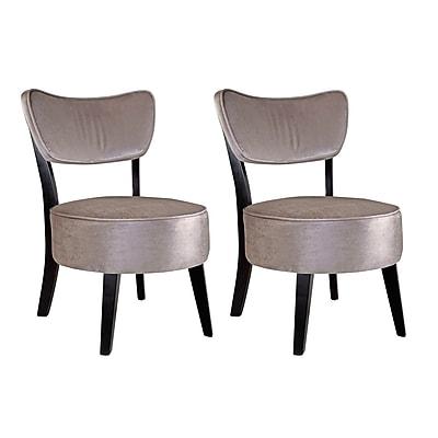 CorLiving™ Antonio Velvet Fabric Accent Chair, Soft Gray