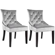 CorLiving™ Antonio Velvet Fabric Accent Chair With Diamond Tufted Back, Soft Gray