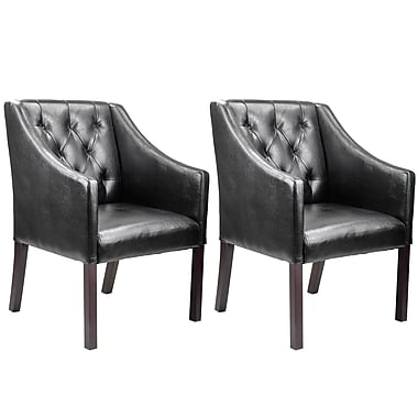 CorLiving LAD-608-C Antonio Accent Club Chair, Bonded Leather, Black, 2/Pack