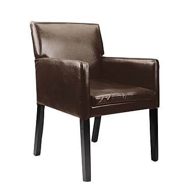 CorLiving LAD-629-C Antonio Accent Chair, Bonded Leather, Dark Brown