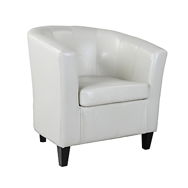 CorLiving LAD-715-C Antonio Tub Chair, Bonded Leather, Creamy White