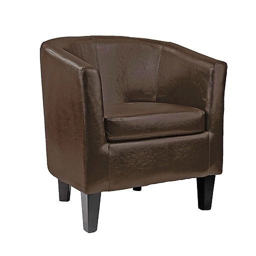 CorLiving™ Antonio Bonded Leather Accent Tub Chair, Dark Brown