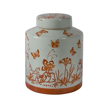 Cobistyle Flower and Butterfly Pattern Covered Jar, Orange