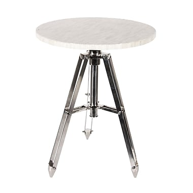 Home Details Table with White Bone Top and Stainless Steel Legs