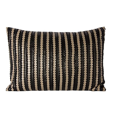Steven & Chris Black Pillow with Faux Leather Ribbons, 14
