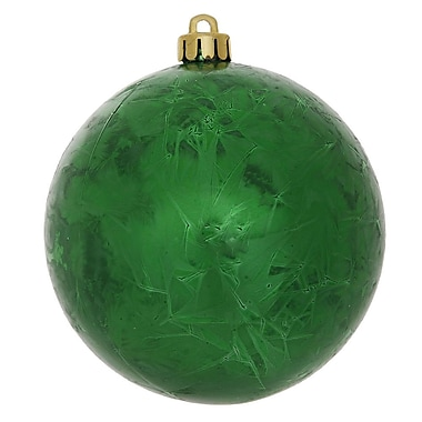 Vickerman Crackle Ball UV Drilled Christmas Ornament (Set of 12); Green