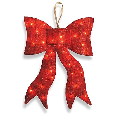 National Tree Co. Pre-Lit Wavy Bow Christmas Decoration; Red