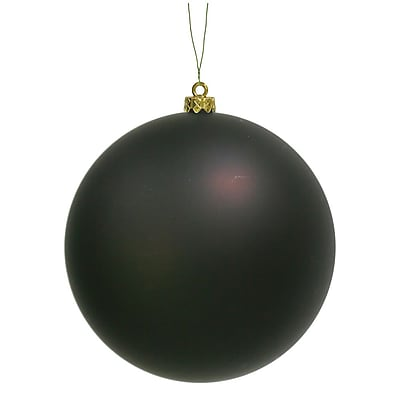 Vickerman Ball Matte UV Drilled Cap Ornament; Chocolate