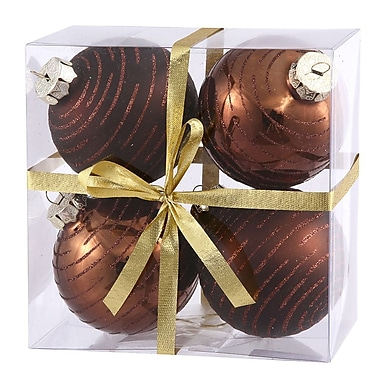 Vickerman Assorted Ball Christmas Ornament (Set of 4); Chocolate