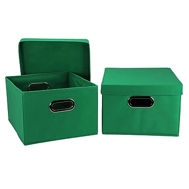 Household Essentials Collapsible Decorative Box with Lid, Kelly Green